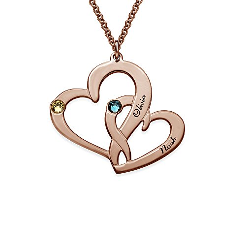 Rose Gold Two Heart Engraved Necklace with CZ Birthstones - Personalized & Custom Made Pendant Tiffany Two Hearts Pendant