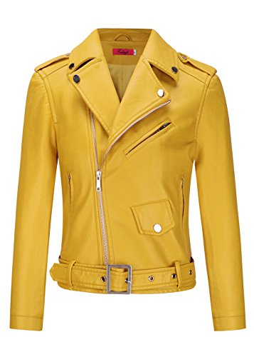 Tueenhuge Women Faux Leather Jacket Slant Zipper Moto Short Jackets Coat Bomber