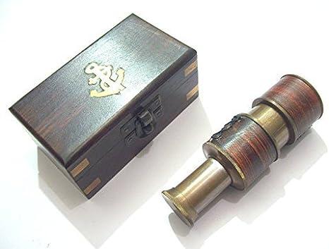 Sabri Home Gifts - Telescopio Antiguo de latón y Cuero con Caja de Madera, diseño Vintage: Amazon.es: Hogar