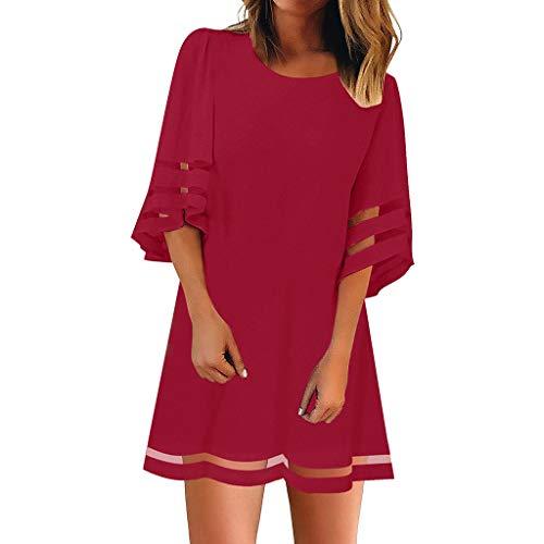 POTO Women Dresses, Women's Solid Lace Patchwork Casual Mini Dress Party Dress Beach Tank Dress Sundress
