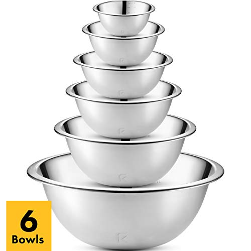 Klee 6-Piece Premium Stainless Steel Mixing Bowls with Laser Etched Measuring Lines (Set of 6) (Wolfgang Puck Stainless Steel Bowls With Lids)