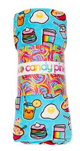 Candy Pink Rainbow Breakfast Throw Blanket ()