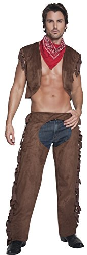 Smiffys Men's Fever Male Ride Em High Cowboy Costume, Waistcoat, Chaps and Scarf, Western, Fever, Size -