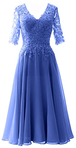 MACloth Women V Neck Wedding Party Formal Gown Mother of Bride Dress with Sleeve (Custom Made, Horizon)