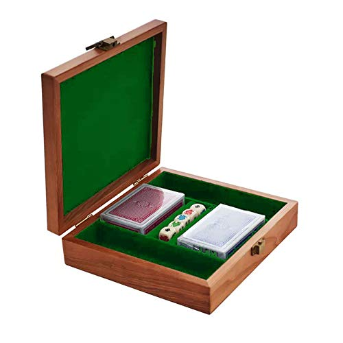 Indipartex Poker Chip Carrier Chip Case. This Case Also Comes with 2 Decks Standard Playing Cards Plus 5 Poker Dice That are Marked with a 9, 10, Jack, Queen, King & Ace as a Gift Set for Groups ()