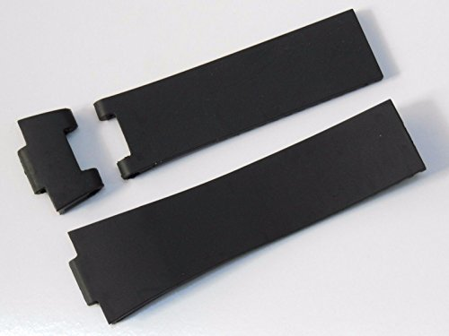 25mm Black Rubber Diver Watch Strap Band For UN Maxi Marine (Nardin Maxi Ulysse)