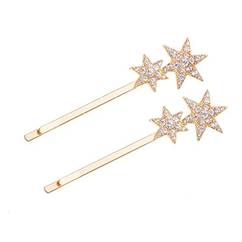 Tgirls Fashion Geometric Crystal Hairpin Shinning Star Pentagram Shaped Rhinestone Hair Clip Bridal Hair Accessories for Women and Girls (2Pcs) (Gold) ()
