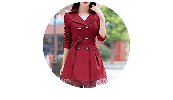 Amazon.com: 1PC Trench Coat for Women Coat Double easted Lace Outerwear Aigos Z015,Wine red,XL: Clothing