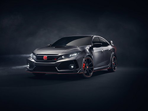 Honda Civic Type R Prototype (2016) Car Print on 10 Mil Archival Satin Paper Black Front Side Static View - From To Shipping Us Canada Usps