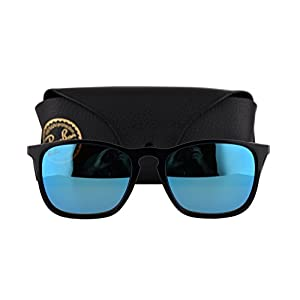 Ray Ban RB4187 Chris Sunglasses Black w/Light Green Mirror Blue Lens 60155 RB 4187