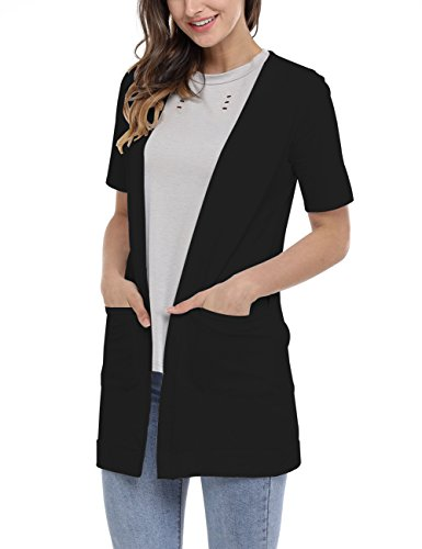 MEROKEETY Women's Open Front Solid Knitted Long Cardigan With Pocket