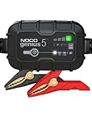 NOCO GENIUS5AU, 5-Amp Fully-Automatic Smart Charger, 6V and 12V Battery Charger, Battery Maintainer, and Battery Desulfator with Temperature Compensation