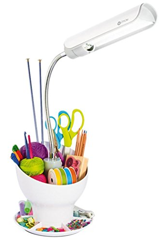 "OttLite X12008-FFP 13W Craft Space Organizer, 7.5"" x 8.313"" x 14"", White Desk Lamp"