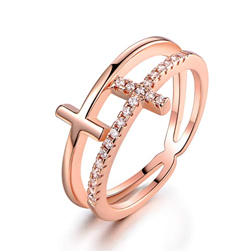 Barzel 18k Gold Plated Cubic Zirconia Double Cross Ring (Rose Gold, 5)