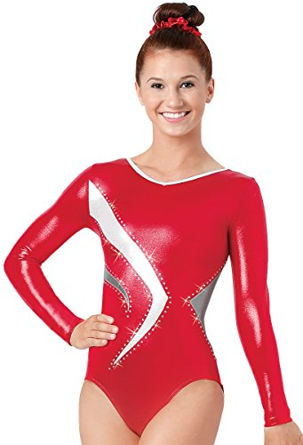 Balera Gymnastics Long Sleeve Leotard With Rhinestone Accents Red/Red Child Medium