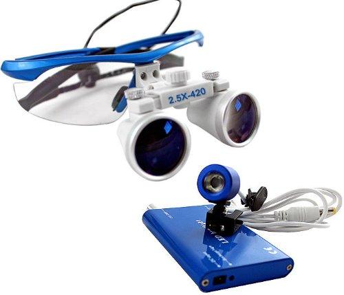 Blue 2.5x 420 Surgical Binocular Loupes + LED Head Light Lamp