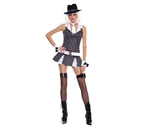 Music Legs Sexy Gangster Girl Womens Mafia Halloween Costume -