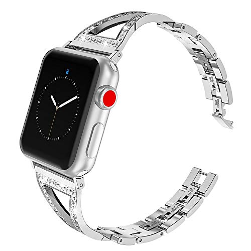 Glebo Bling Band for Apple Watch Band 42mm 44mm Women Men, Stainless Steel iWatch Bands Bracelet Wristband Bangle Straps Wristbands Replacement Bands for Apple Watch Accessories Series 4 3 2 1, Silver