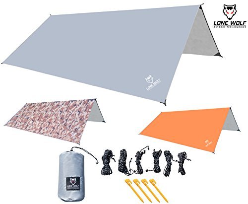 Lone Wolf 10.5' x 10.5' Lightweight Hammock Rain Fly Tent Tarp Water Proof Camping Shelter Ripstop Material UV Protection Sand Resistant Beach Blanket Essential Survival Gear (Gray)