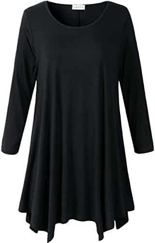 Lanmo Women Plus Size 3/4 Sleeve Tunic Tops Loose Basic Shirt