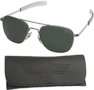 AO Original Pilot Sunglasses, Silver, Wire Spatula, CC Gray Poly Lens, 55mm