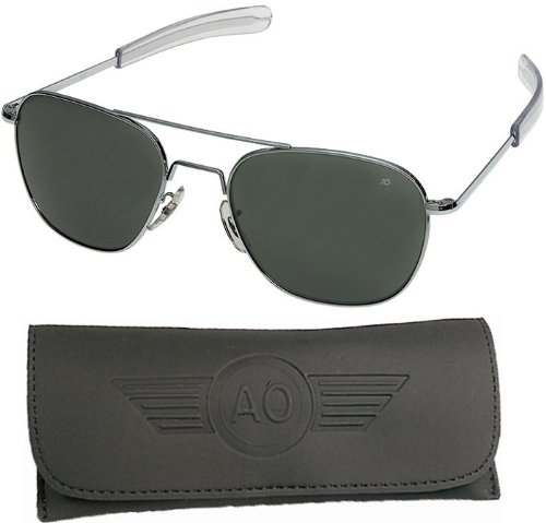 American Optical Pilot Aviator Sunglasses 55 mm Shiny Silver