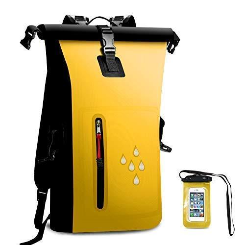 AMASENG 25L Waterproof Dry Bag Backpack for Kayaking, Rafting, Boating, Camping,Hiking,with Zipper Pocket,IPX8 Waterproof Phone Case, Dry Sacks ()