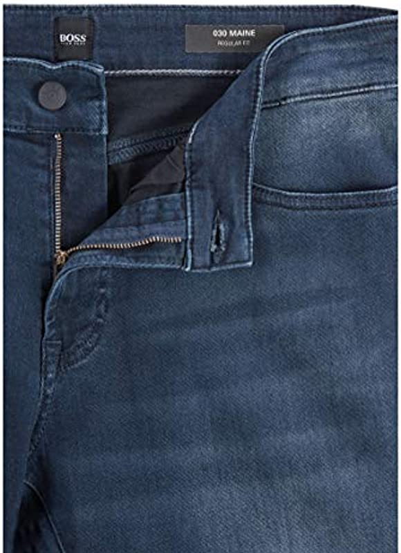 BOSS Męskie dżinsy Maine BC-L-P Regular-Fit z super stretchowego denimu: Odzież