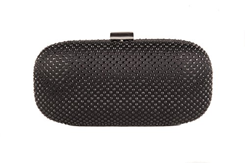 Clutch in raso con mini borchie e tracollina