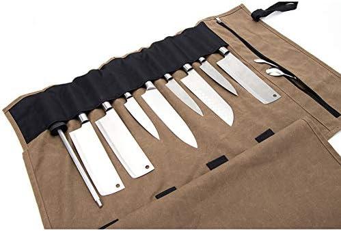 Bolsa para Cuchillos de Chef, Caja de Lona Encerada para 10 Cuchillos, 4 Cuchillos Plegables y 1 Cuchillo de Carne. Durable HGJ207 - Soporte para Cuchillos Multiusos con Bolsillos y Correas de