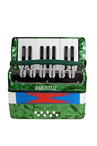 Baronelli Green Beginner Educational 17 Key Junior Accordion with adjustable Straps, & DirectlyCheap(TM) Translucent Blue Medium Pick (ACPK-1)