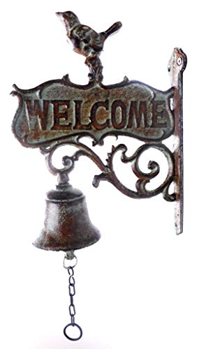 - UDI Cast Iron Welcome Bell with Bird Wall Mounted Dinner Bell with Patina Finish