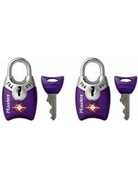 Padlock, Keyed TSA-Accepted Luggage Lock, 1 in. Wide, Purple, 4689TPRP (Pack of 2)