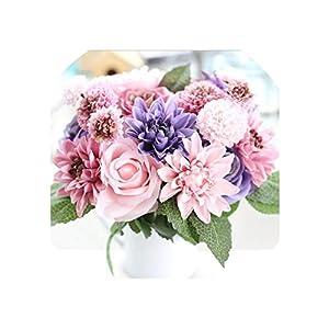 Artificial Flowers Bouquet 10 Head Rose Dahlia Fall Vivid Fake Flower for Wedding Home Party Decor Silk Flower 69