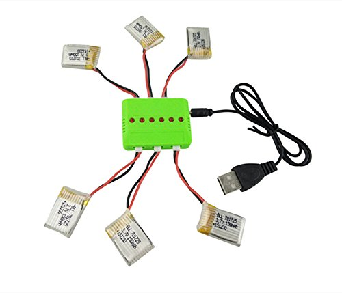 Sea jump 6Pcs 3.7V 150mAh Lipo Battery with X6 Charger for JJRC H8 Eachine H8 Mini Quadcopter(Can't work for JJRC H36 Eachine E010)