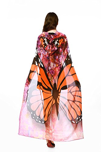 Ryshman Women Cape Halloween Shawl Wrap Printed Butterfly Wing/Peacock/Pumpkin Cloak No Sticks