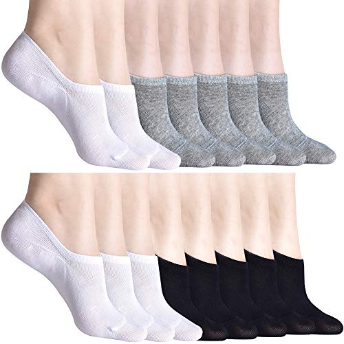 (15 Pairs Women's No Show Socks Thin Casual Cotton Ultra Low Cut Sock for Women Non Slip Flat Boat Line Grey Black White Socks)