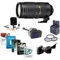 Nikon 80-400mm f/4.5-5.6G AF-S VR Nikkor ED Lens - USA Warranty - Bundle w/77mm Filter Kit, FocusShifter DSLR Follow Focus and Rack Focus, Flex Lens Shade, Cleaning Kit, Professional Software Package