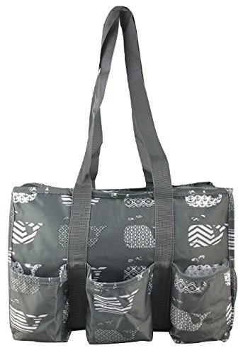 7-Pocket Tote Bag With Zipper (Gray Whales)