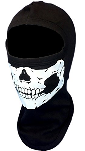 American Made Adult Glow In The Dark Skull Face Ghost Mask Black Ski Hood Large 100% Cotton Black Balaclava by My Skull Store (Image #3)