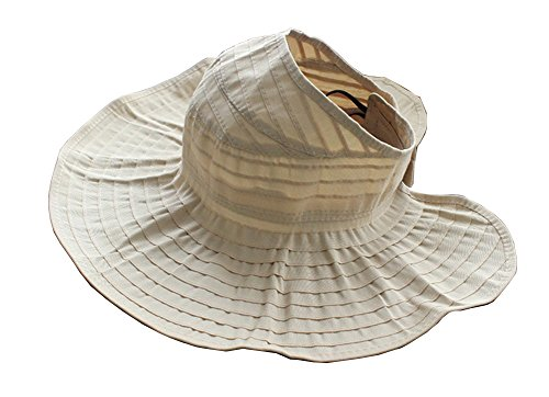 CHUNG Women Sun UV Protection Hat Top Open Packable Foldable Beach Travel, Beige