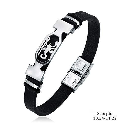 Liujun Mens Bracelets Fashion 12 Zodiac Signs Constellations Stainless Steel Personality Vintage Punk Black Leather Bracelets for Men Women (Scorpio)