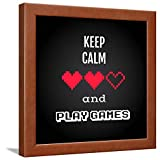 ArtEdge Keep Calm and Play, Gaming Quote Vector Brown Wall Art Framed Print, 16x16, Unmatted