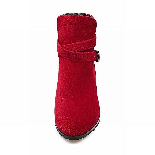 Latasa Kvinna Munk Rem Chunky Klackar Fotled Hög Jodhpurs Red