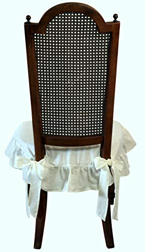 Dining Beautiful Linen Chair Seat Cover 4 Sided Ruffle Large (Off White) by Dining Beautiful (Image #1)