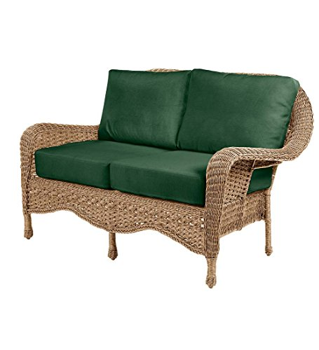 (Prospect Hill Outdoor Patio Deep Seating Love Seat Furniture - Includes Cushions - All Weather Woven Resin and Aluminum Frame, 54.75 W x 30 D x 35.5 H - Driftwood with Forest Green Cushions)