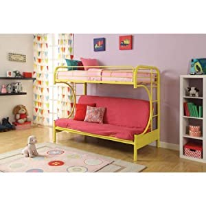 Eclipse 02091W-BK Twin Over Full Futon Bunk Bed Includes Guard Rails, ASTM & CPSC Specifications, Yellow Color