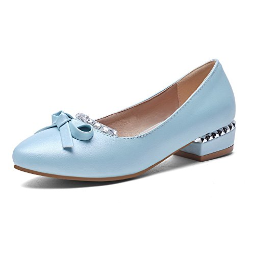 VogueZone009 Women's Pull On Pointed Closed Toe Low Heels Pu Solid Pumps-Shoes Blue