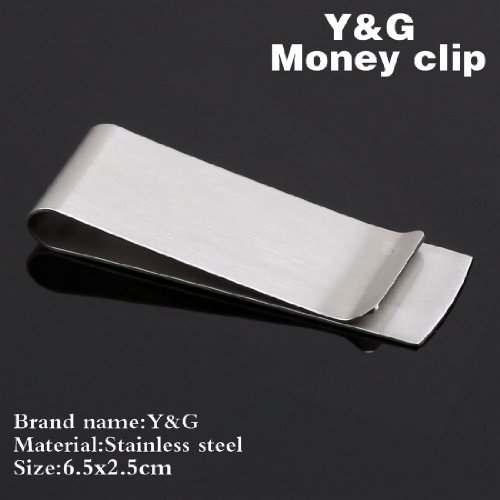 Silver stainless steel Slim Money Clip groomsman gift MC1016 One Size Silver