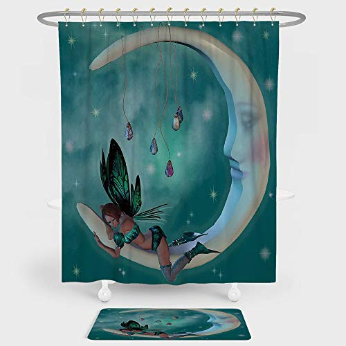 - Moon Shower Curtain And Floor Mat Combination Set Beautiful Elf with Wings Fantastic Toonimal Faeire Pixie Starry Sky Cosmic Artwork For decoration and daily use Teal White